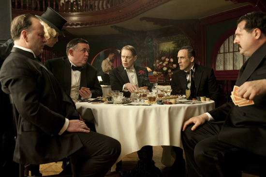 Robert Clohessy as Ward Boss Neary, William Hill as Ward Boss O'Neill, Steve Buscemi as Nucky Thompson, Victor Verhaeghe as Ward Boss Fleming, and Ed McGinty as Ward Boss Boyd on Boardwalk Empire.  Photo courtesy of HBO