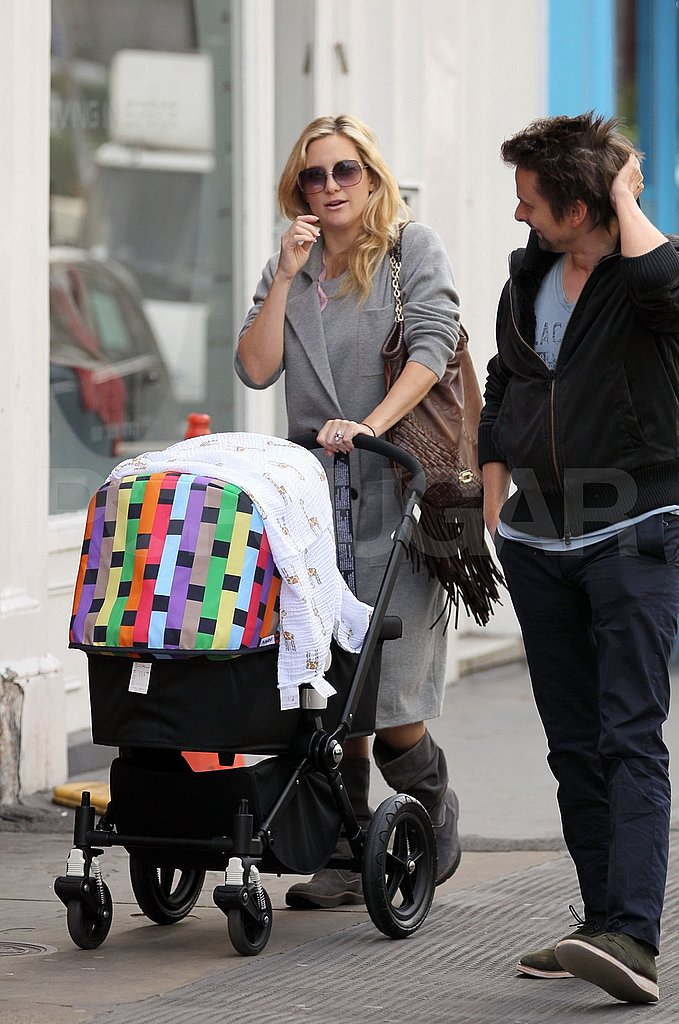 Kate Hudson and Matt Bellamy head home with son Bingham.