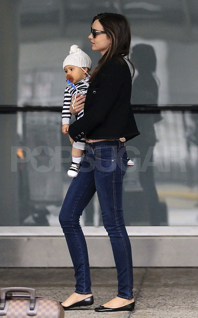 Miranda Kerr and son Flynn Bloom leave NYC.