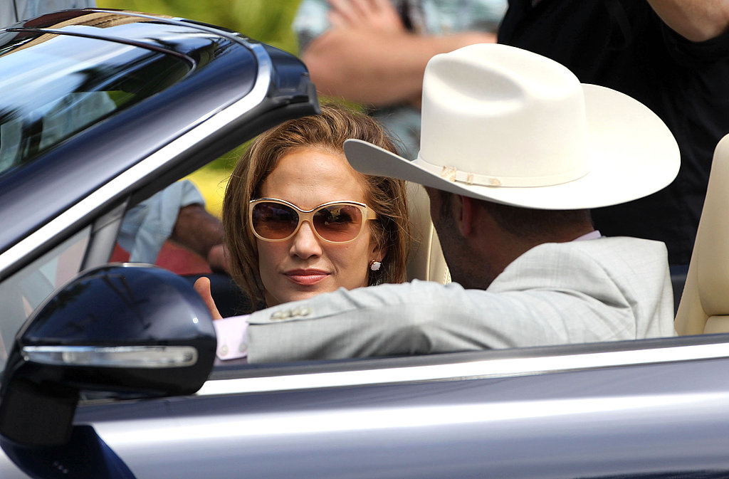 Jennifer Lopez and Jason Statham shared a scene inside a black convertible.