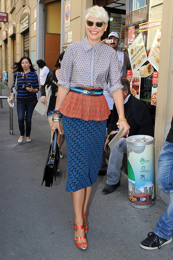 Stylist Elisa Nalin mixed prints in a chic peplum pencil skirt and printed blouse.