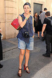 Garance Doré got snapped in boyfriend shorts and cute pumps.