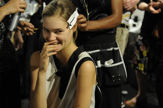 Twirls and Pillow Parties — Backstage at Versace, Etro, and Blumarine