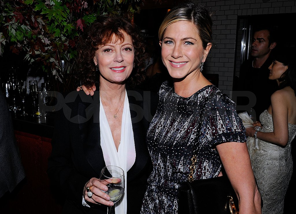 Jennifer Aniston and Susan Sarandon snapped a photo together inside the Artists For Haiti dinner.