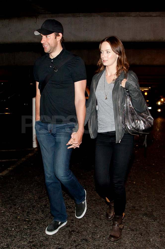 Emily Blunt and John Krasinski arrive at LAX.