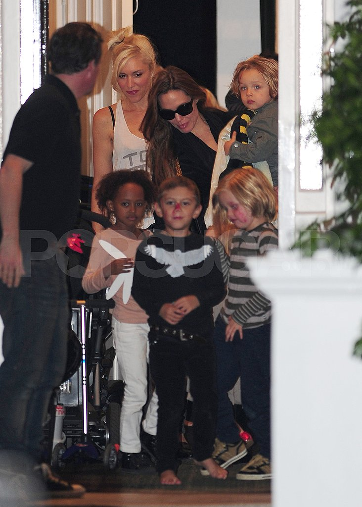 Gwen Stefani and Kingston Rossdale wrap up a play date with Angelina Jolie and her kids.