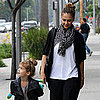 Jessica Alba With Honor Wearing Leather Jacket Pictures