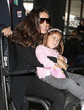 Salma Hayek smiles with Valentina at LAX.