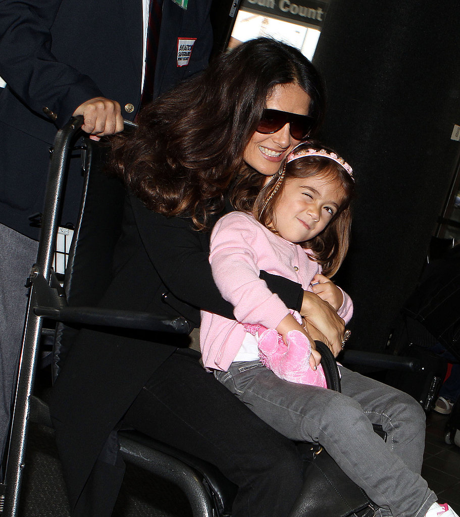 Salma Hayek and Valentina smile at LAX.