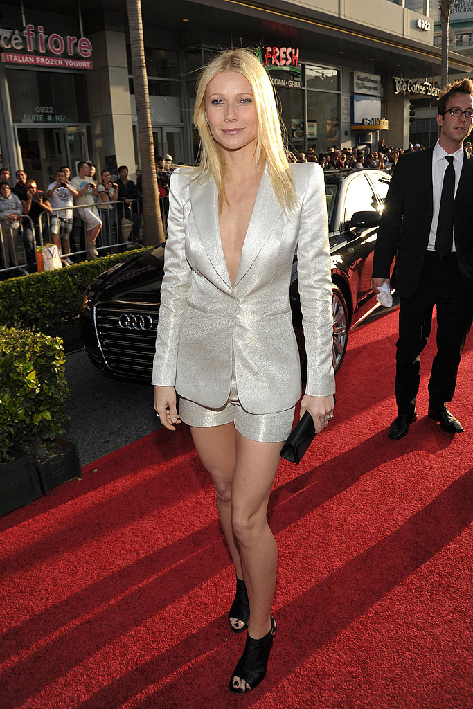 A chic, metallic short suit by Armani for the Iron Man 2 world premiere in 2010.