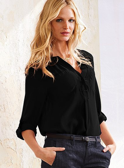 Solid Button-Down Blouse