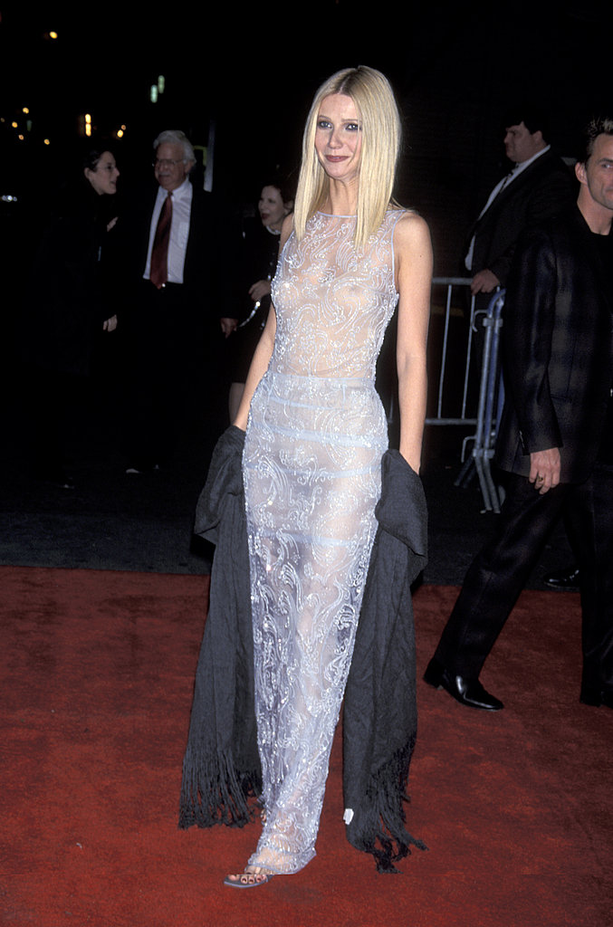Sexy peek-a-boo and embellishments at the Shakespeare In Love premiere in 1998.