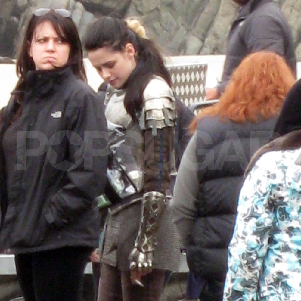 Kristen Stewart between Snow White and the Huntsman scenes.