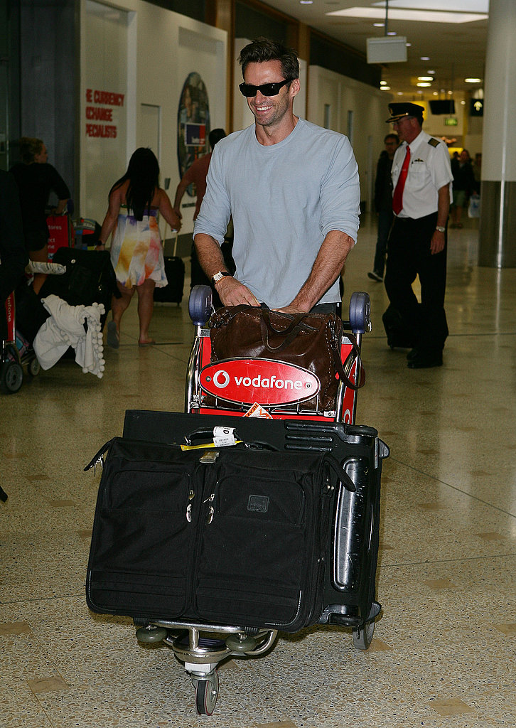 Hugh Jackman wore sunglasses in the airport in Sydney.