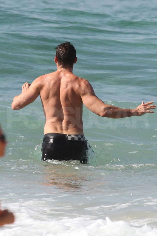 Hugh Jackman went for a swim after working out.
