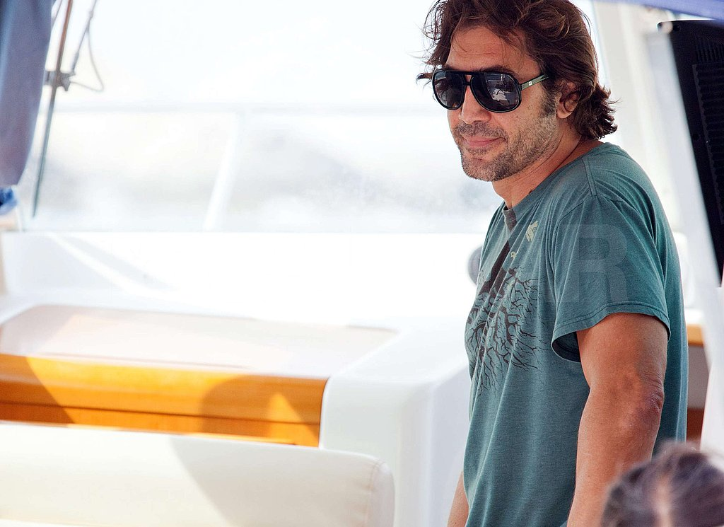 Javier Bardem hitched a ride on the boat.