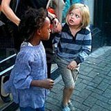 Zahara Jolie-Pitt and Shiloh Jolie-Pitt leaving a London costume shop.