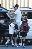 Loving dad David Beckham with Cruz Beckham and Romeo Beckham.
