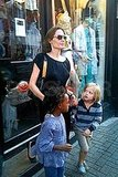 Angelina Jolie takes Shiloh Jolie-Pitt and Zahara Jolie-Pitt shopping in London.