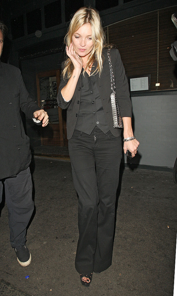 Kate Moss headed home from a party.