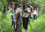 Norman Reedus as Daryl Dixon, Andrew Lincoln as Rick Grimes, Steven Yeun as Glenn, Melissa Suzanne McBride as Carol, and Sarah Wayne Callies as Lori Grimes on The Walking Dead.  Photo courtesy of AMC
