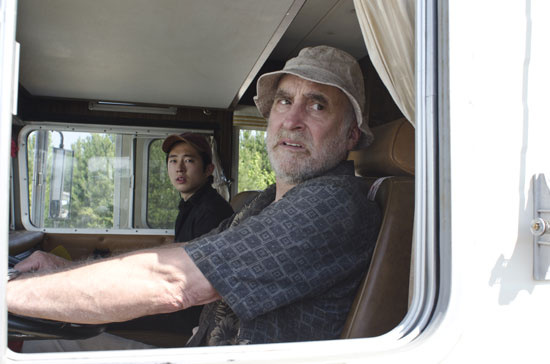 Steven Yeun as Glenn and Jeffrey DeMunn as Dale on The Walking Dead.  Photo courtesy of AMC