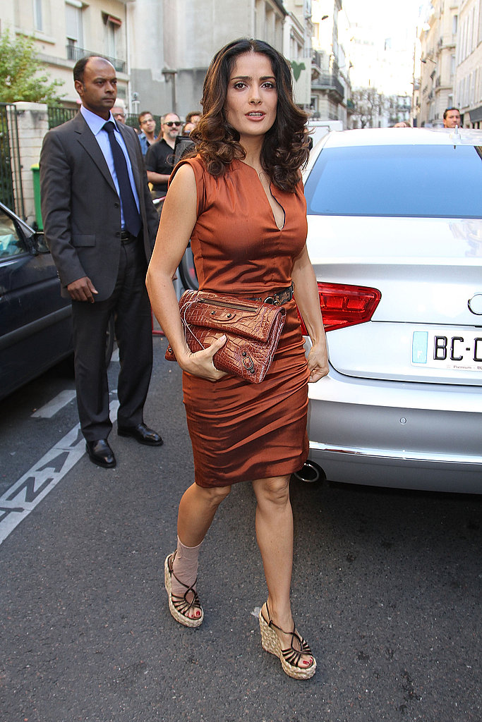 Salma Hayek arrived in a chauffeured car.