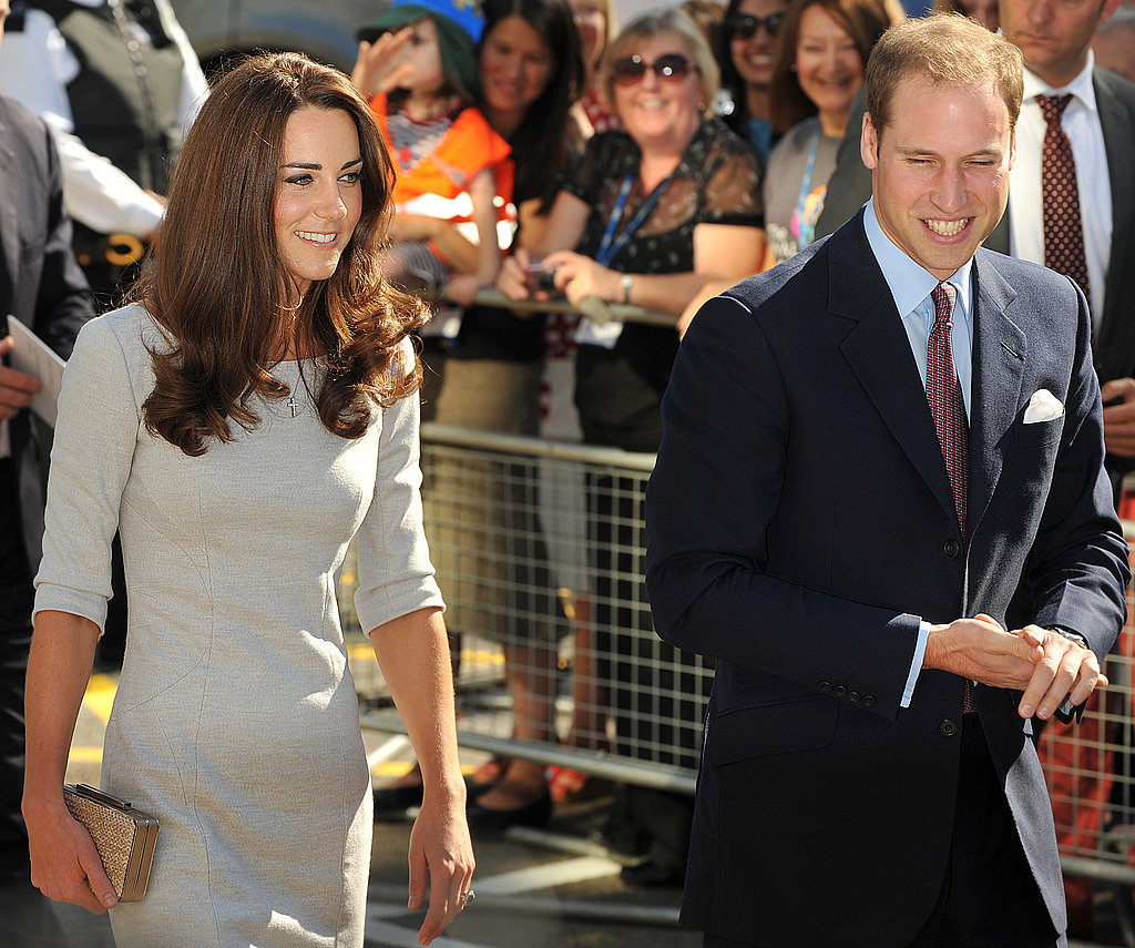William and Kate walk together to the hospital.