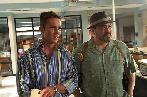 Desmond Harrington as Joey Quinn and David Zayas as Angel Batista on Dexter. Photo courtesy of Showtime