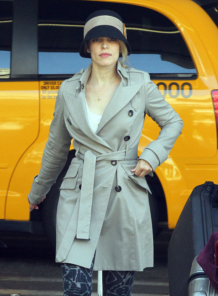 Rachel McAdams was solo for her travels.
