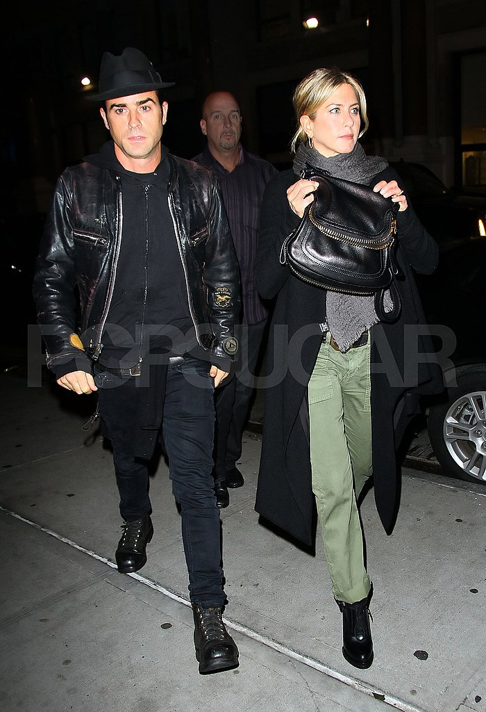 Jennifer Aniston and Justin Theroux leave home for dinner at Craft.