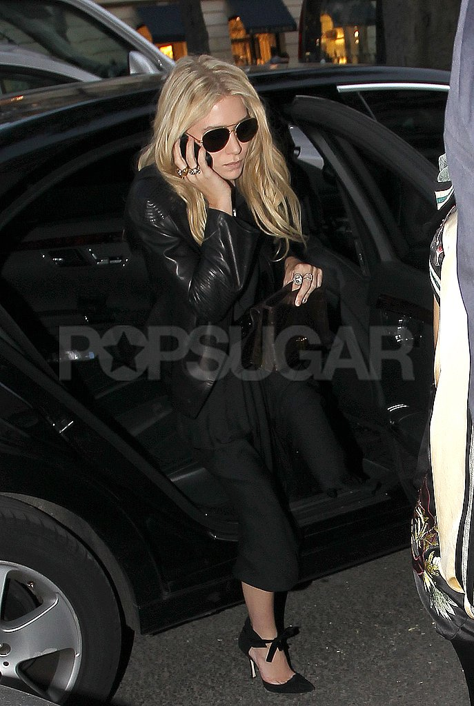 Ashley Olsen headed into the launch party for The Row handbags.