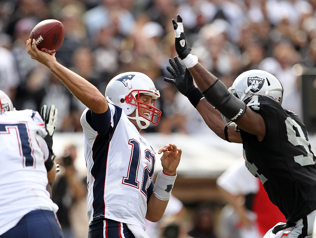 Tom Brady threw a pass in Oakland.