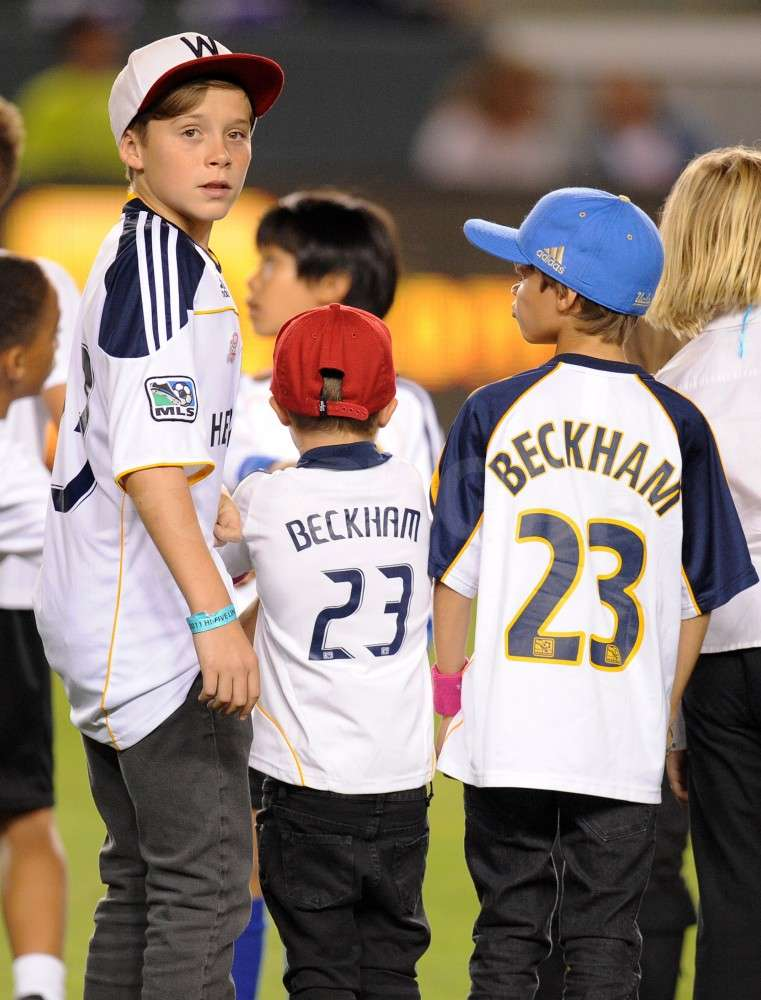 Romeo Beckham, Cruz Beckham, and Brooklyn Beckham teamed up on the soccer field.