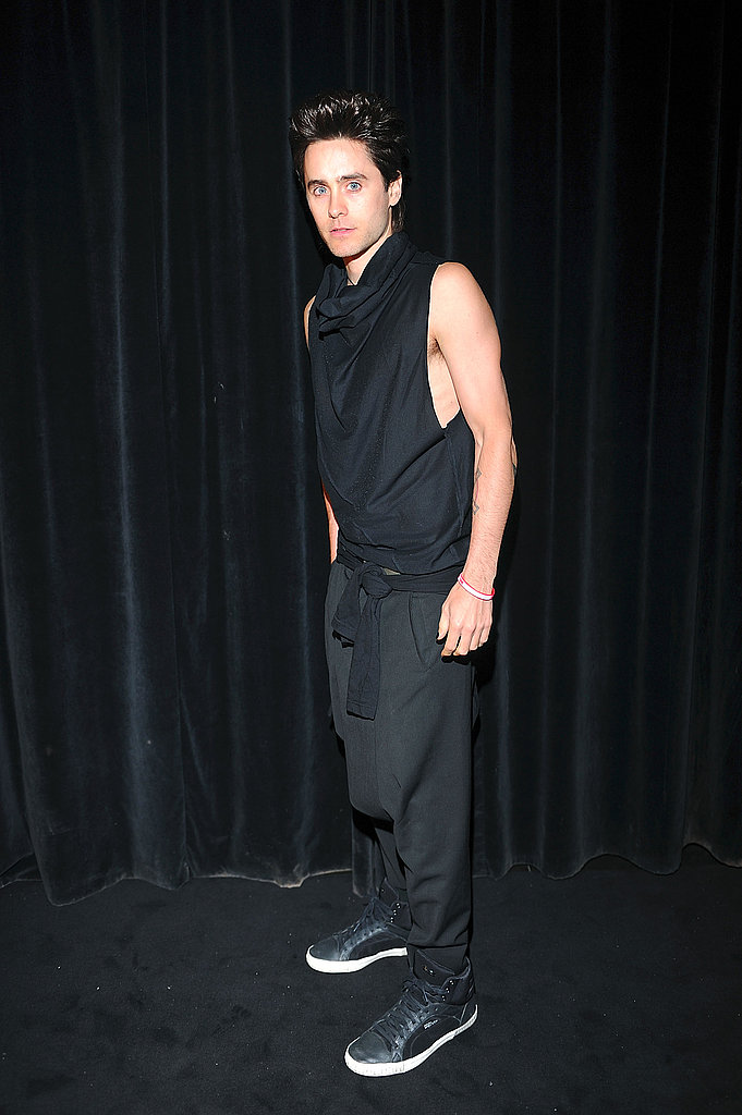 Jared Leto wore all black to the Givenchy party.