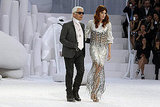 Karl Lagerfeld and Florence Welch at Paris Fashion Week.