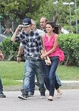 Justin Bieber held his hat with Selena Gomez in Brazil.