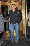 George Clooney smiled while leaving an NYC hotel.