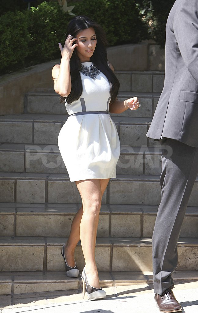 Kim Kardashian walked down her staircase in LA.