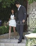 Kim Kardashian and Kris Humphries descended a staircase.