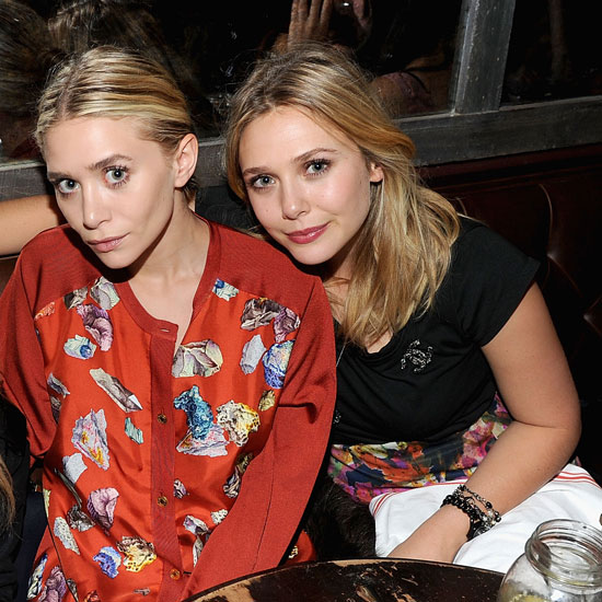 Ashley and Elizabeth Olsen got close at dinner in NYC.