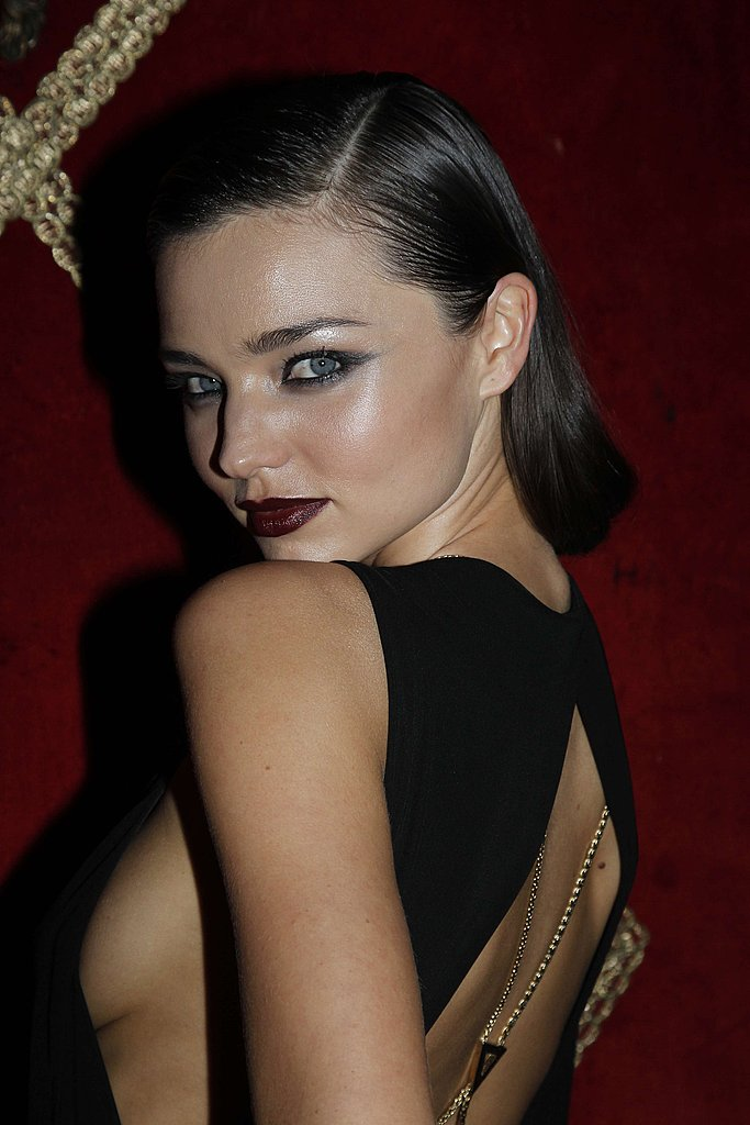 Miranda Kerr showed off her backless dress.