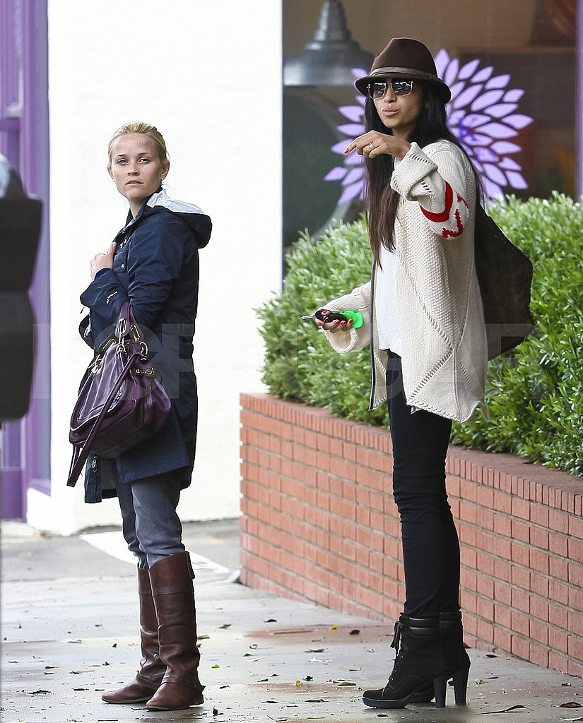 Reese Witherspoon has lunch with Camila Alves at R+D Kitchen in LA.