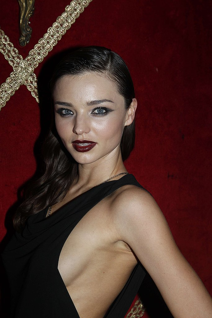 Miranda Kerr in a revealing black dress.