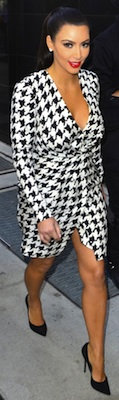 Kim Kardashian in Houndstooth Ferragamo Dress