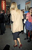 Cameron Diaz in a camel coat.