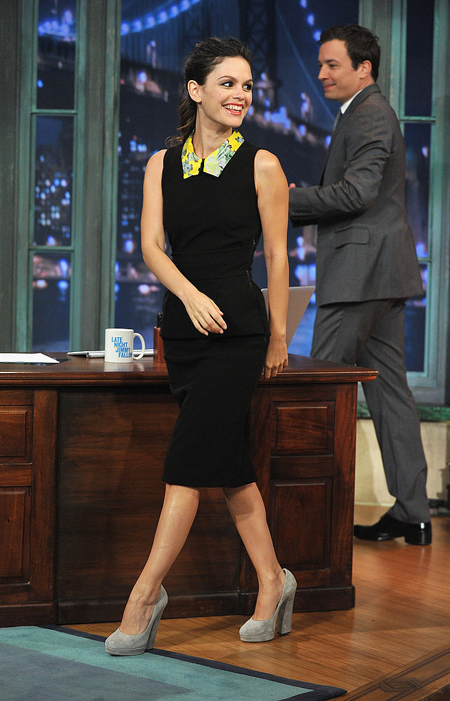 Jimmy Fallon welcomed Rachel Bilson to his show.