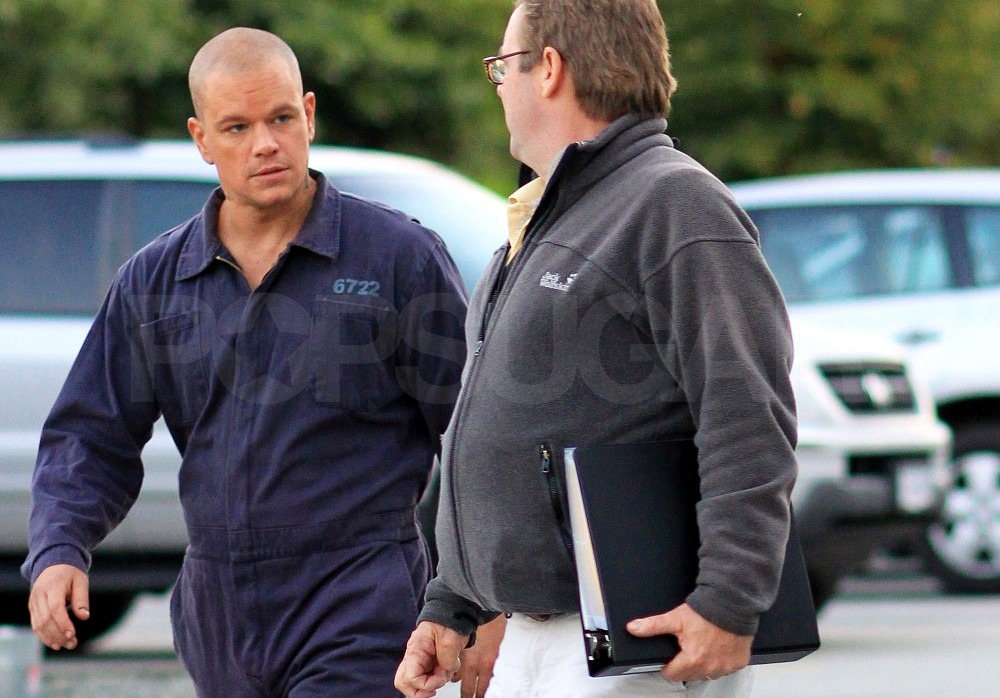 Matt Damon Sports a Neck Tattoo and Prison Gear on Set
