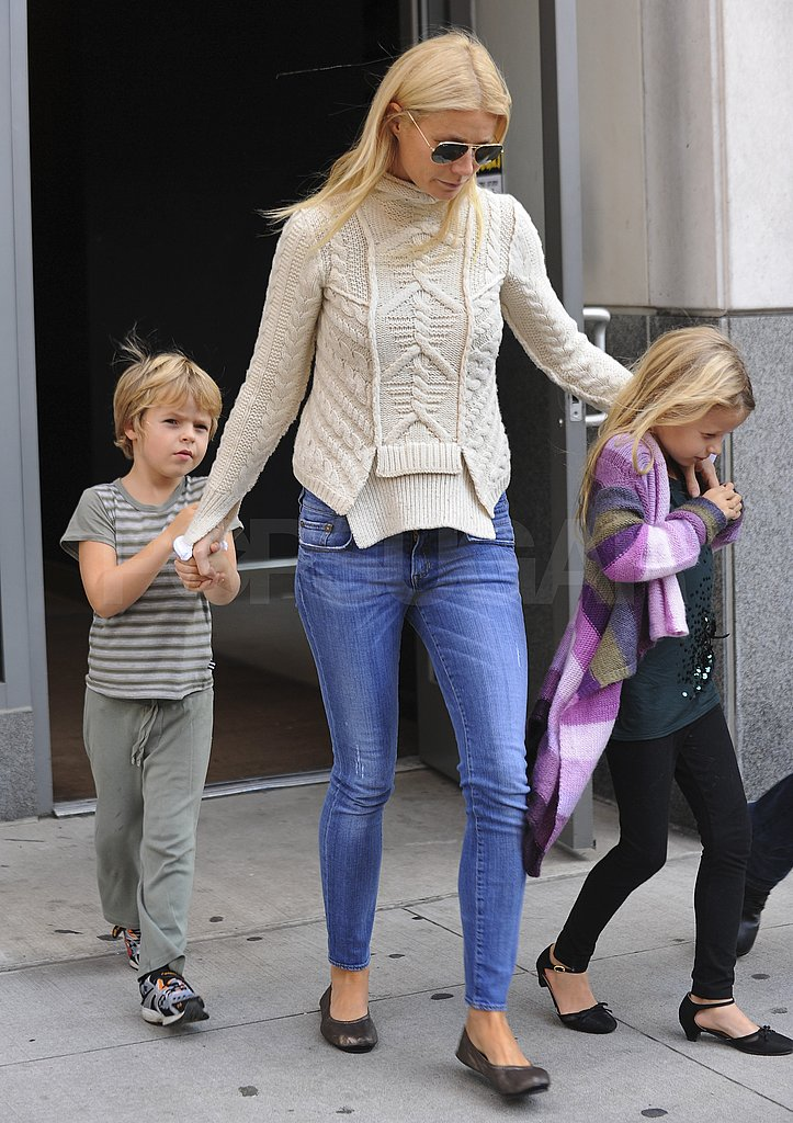 Gwyneth Paltrow took kids Apple Martin and Moses Martin out in NYC.