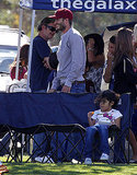 David Beckham checks out his sons' soccer game.